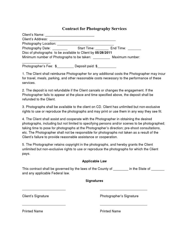 Basic Wedding Photography Contracts | Photography Contract