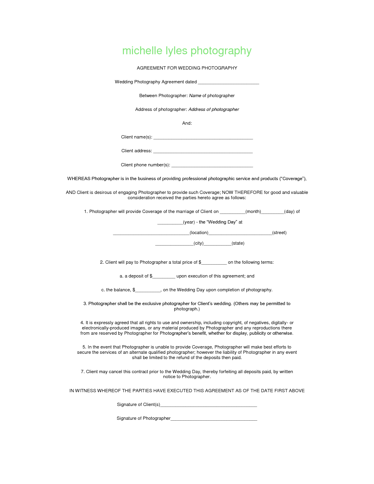 Advertising Agency Contract Template With Photography Contract