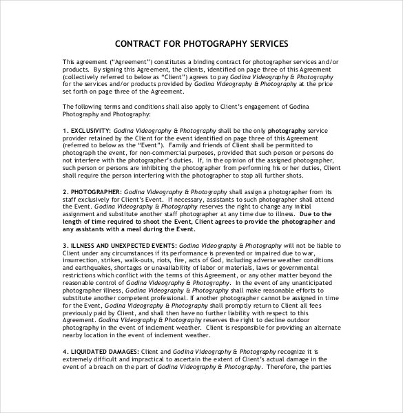 18+ Photography Contract Templates – PDF, DOC | Free & Premium