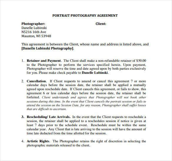 photography agreement template photography contract template 18