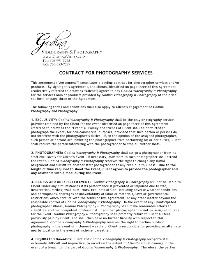 Photography contract
