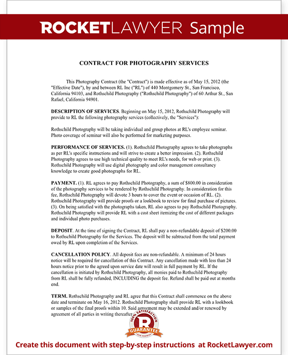 Photography Contract Templates | Photo Contract | Rocket Lawyer