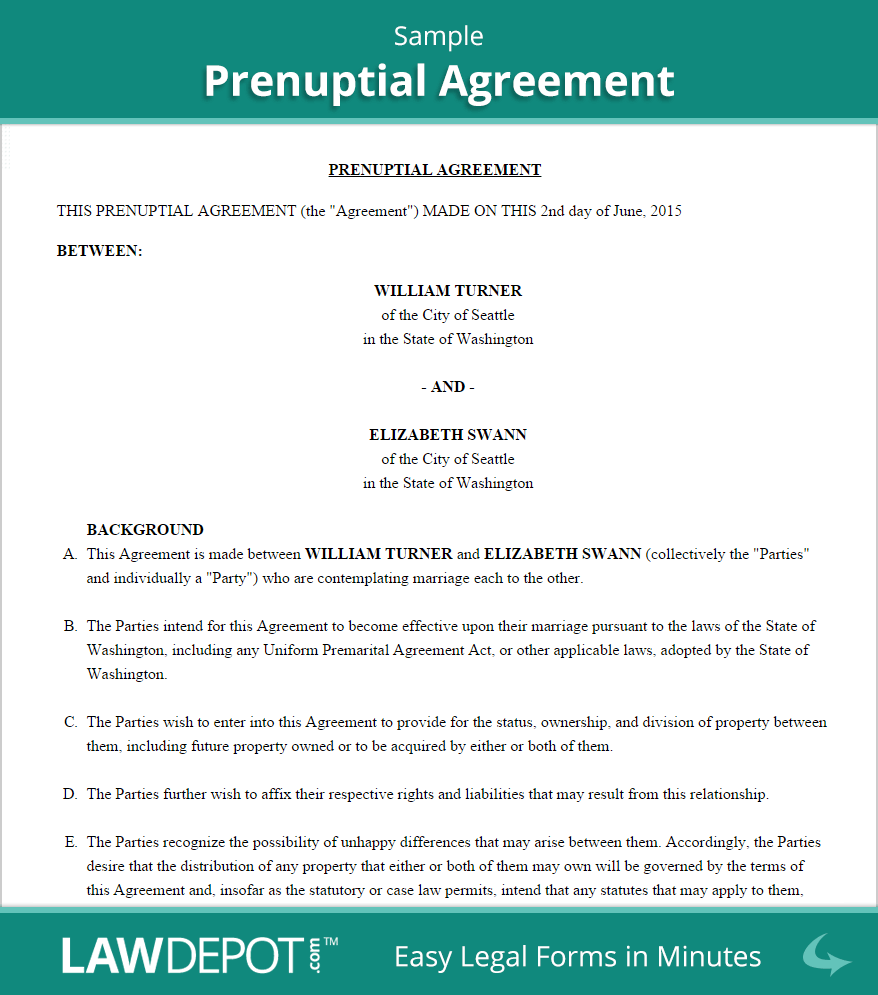 Prenuptial Agreement Form | Free Prenup Forms (US) | LawDepot