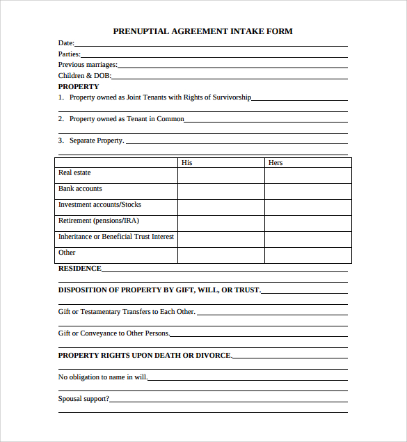 Prenuptial Agreement FREE Template Word & PDF