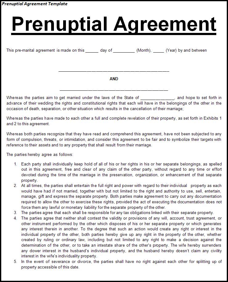 30+ Prenuptial Agreement Samples & Forms Template Lab
