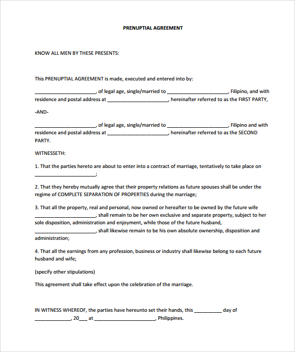free prenuptial agreement template prenuptial agreement 8 download