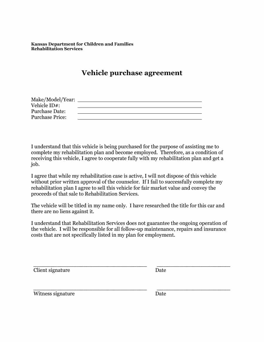 Printable Vehicle Purchase Agreement Fill Online, Printable