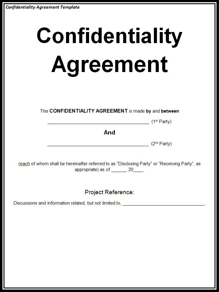 privacy agreement template standard confidentiality agreement