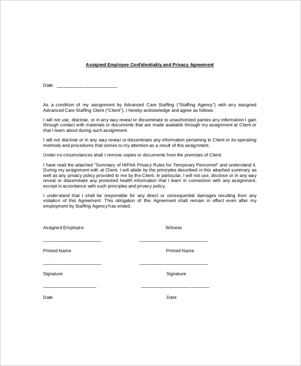 Staff Confidentiality Agreement Template Swineflutrackingmap.com