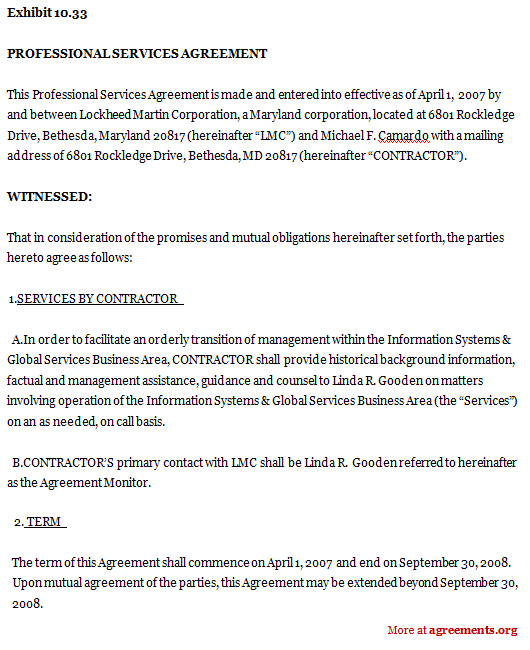 professional service agreement template professional services