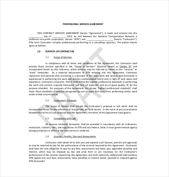 professional services agreement template free professional service