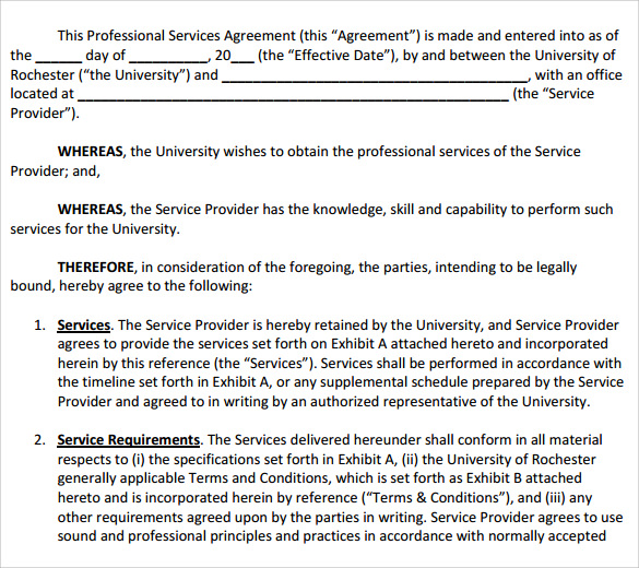12 Professional Services Agreement Templates to Download | Sample