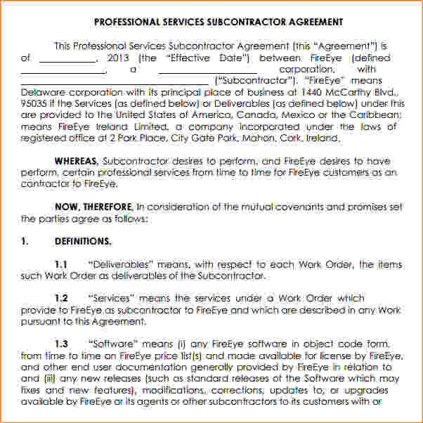 subcontractor agreement template for professional services 6