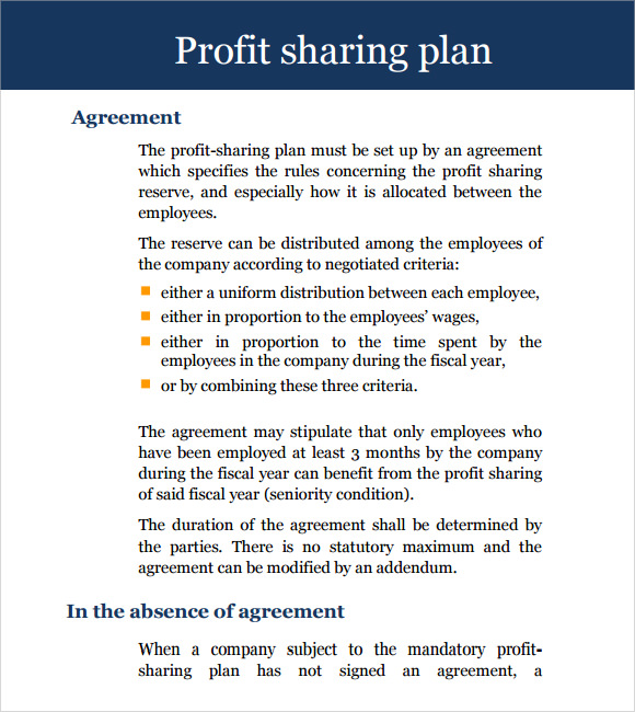 Profit Share Agreement Template Free Cost Sharing