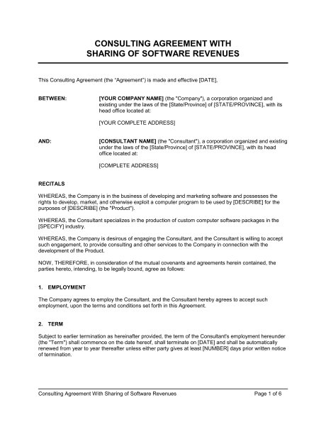profit sharing agreement template revenue share agreement template