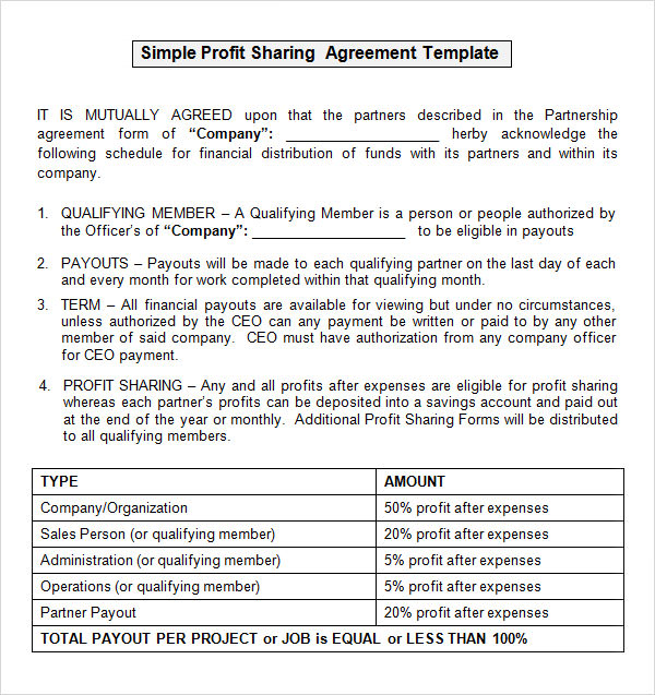 profit participation agreement template film sample profit sharing