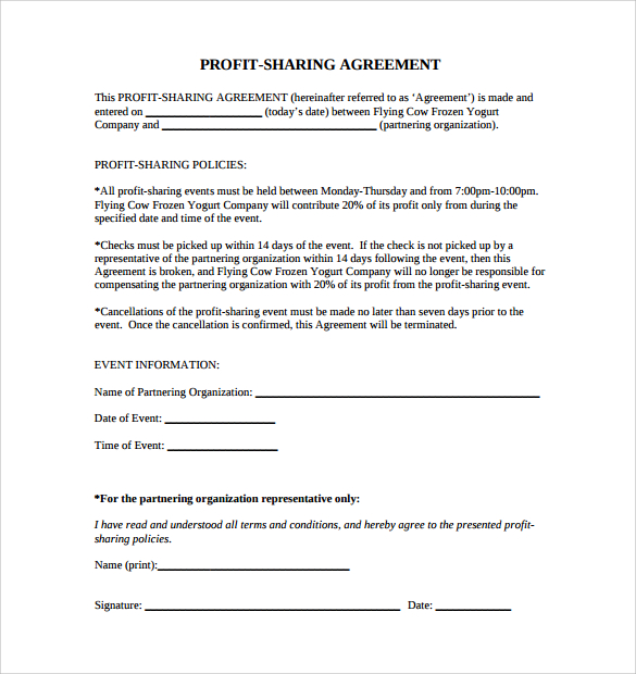 profit sharing agreement profit share agreement template profit