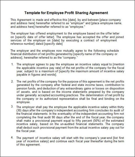 profit sharing agreement profit share agreement template simple