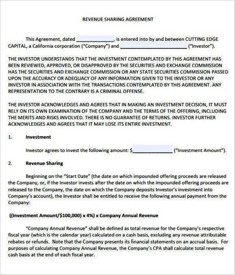 profit sharing agreement template profit sharing agreement