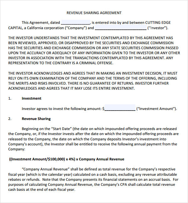 14+ Profit Sharing Agreement Templates – PDF, DOC | Sample Templates