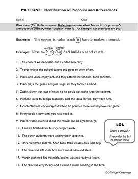 pronoun antecedent agreement worksheet bunch ideas of pronoun
