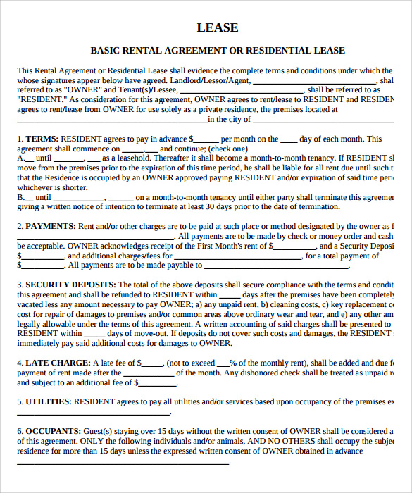 property lease agreement template sample property lease agreement