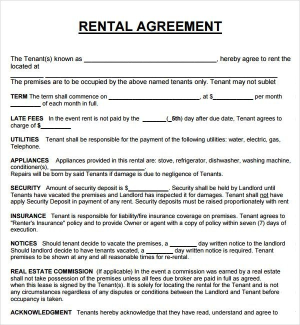 rental property lease agreement template rent agreement template