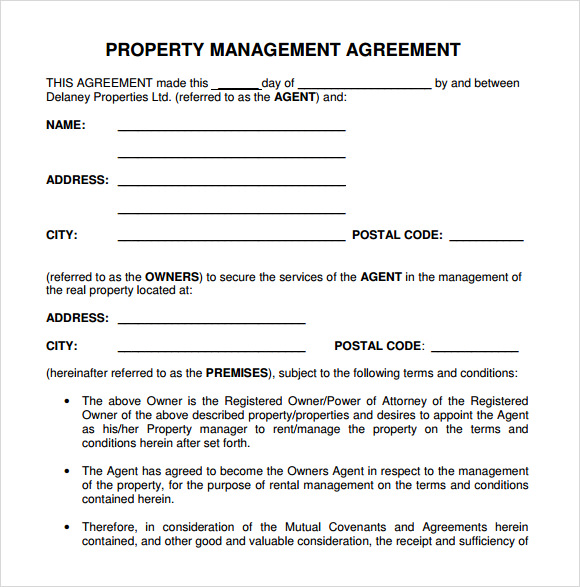 Property management agreement in Word and Pdf formats
