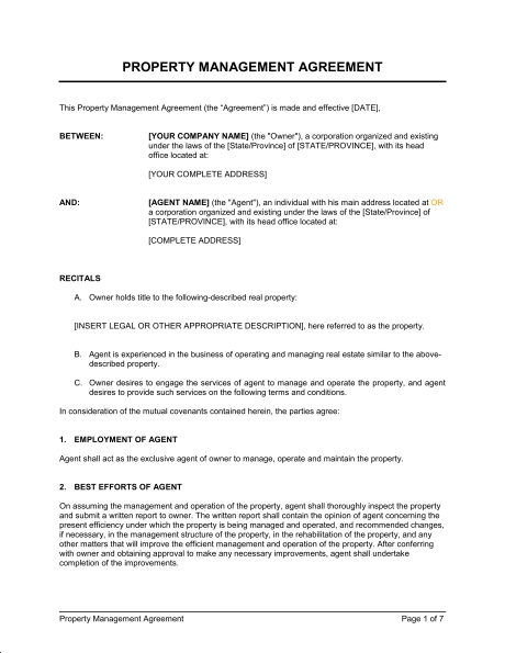 property management agreement template free property management
