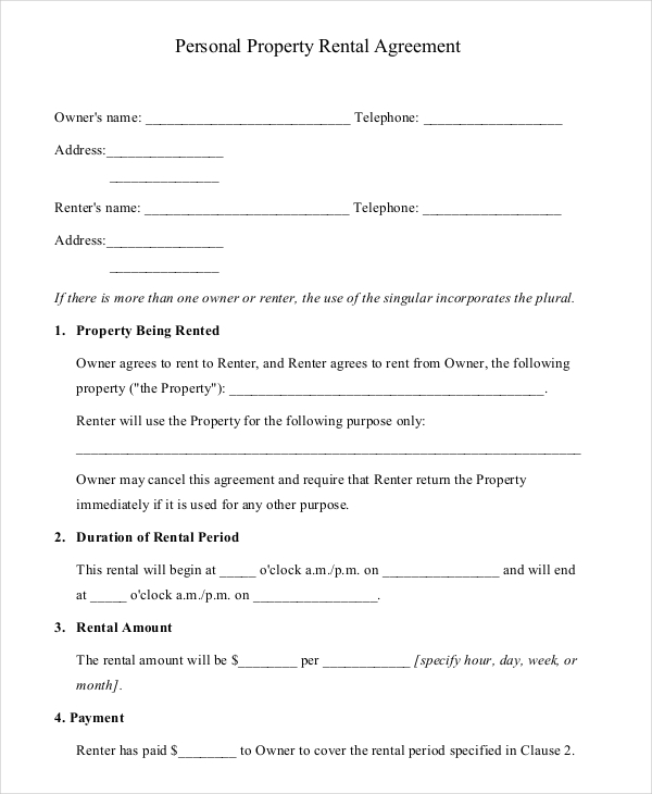 16+ Property Rental Agreement Templates – Free Sample, Example