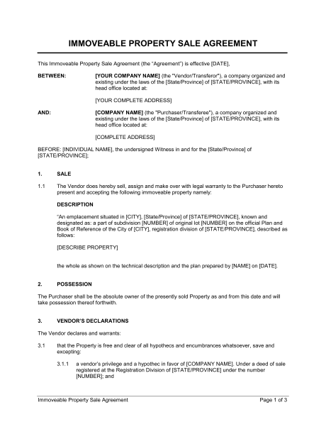 Immoveable Property Sale Agreement Template & Sample Form