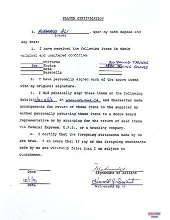 Lot Detail Muhammad Ali Signed Contract Agreement for Autograph