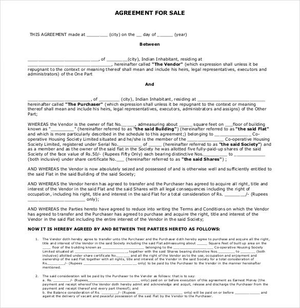 agreement of sale house template agreement of sale template sales