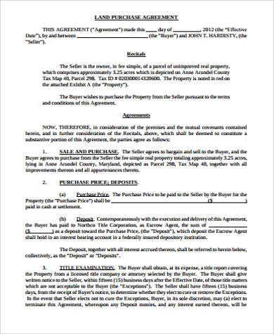 land purchase agreement template 8 land purchase agreement sample