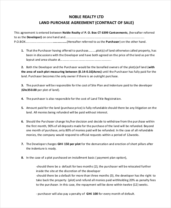 land purchase agreement template sample land purchase agreement