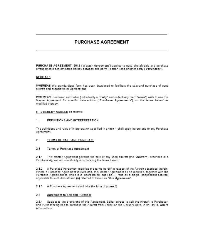 Purchase Agreement Form Gtld World Congress