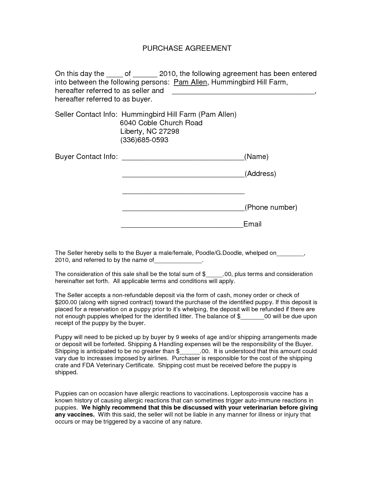 auto purchase agreement form doc by nyy13910 contract for of a car
