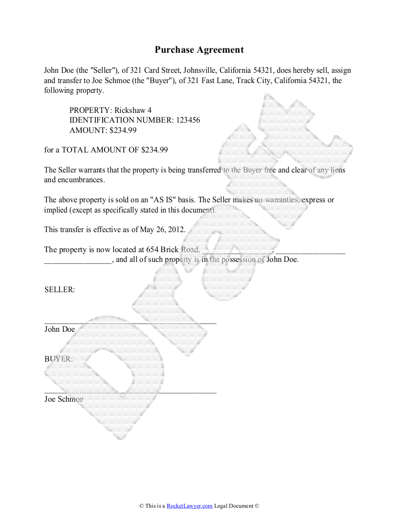 Purchase Agreement Template Free Purchase Agreement