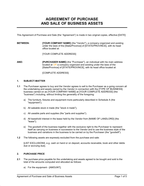 purchase and sales agreement template business purchase and sale