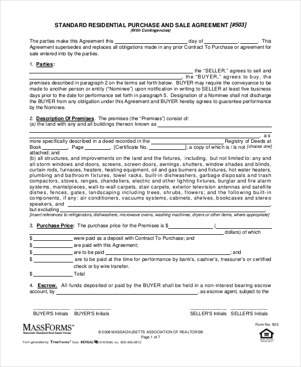 purchase and sale agreement massachusetts template purchase and
