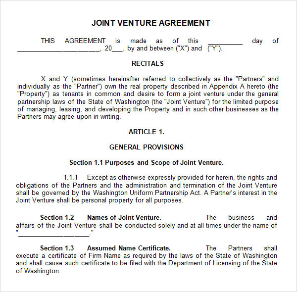 construction joint venture agreement template sample joint venture