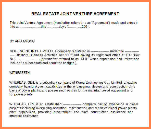 8+ contractual joint venture agreement template | Purchase