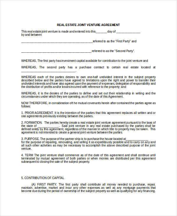 Joint Venture Agreement 9+ Free Word, PDF Documents Download