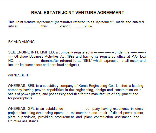 real estate joint venture agreement template sample joint venture