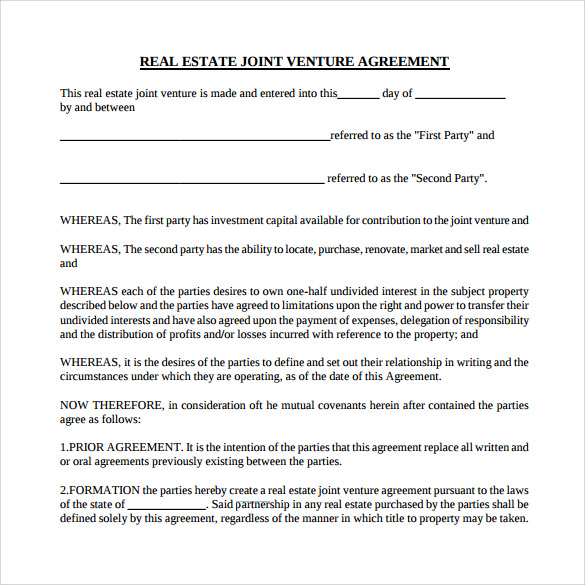 real estate partnership agreement template house flipping