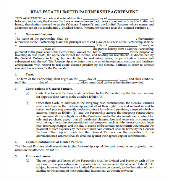 real estate partnership agreement template agreement template