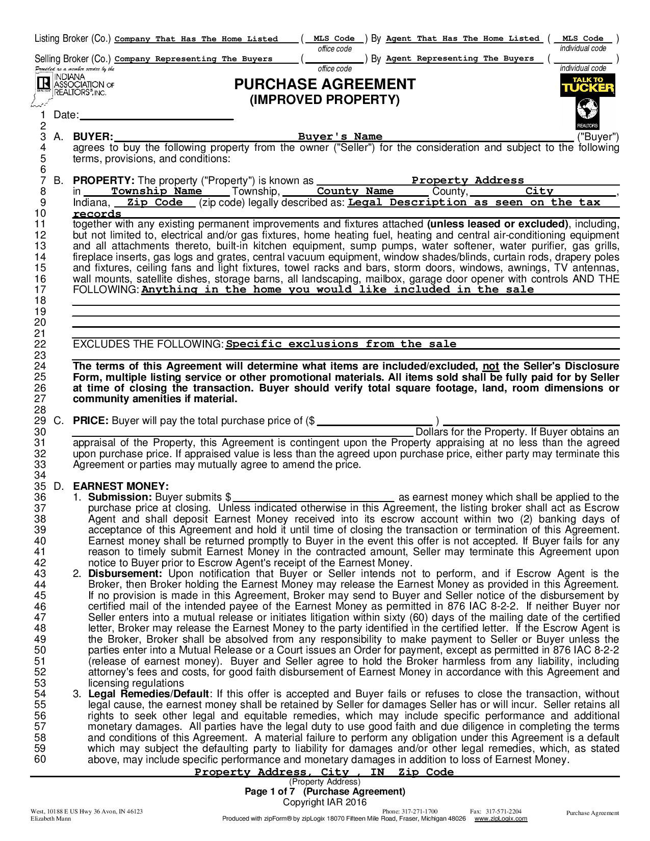 Real Estate Purchase Agreement Indiana Fill Online, Printable