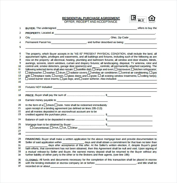 ohio home purchase agreement template real estate contract
