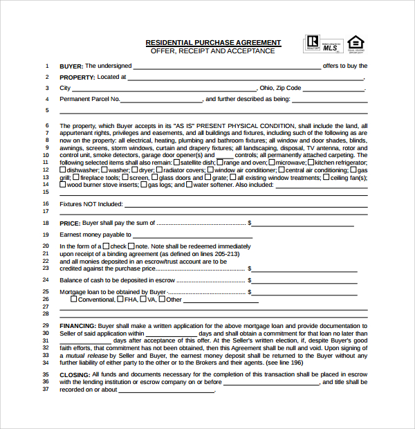 Real Estate Purchase Agreement Free Template Schreibercrimewatch.org