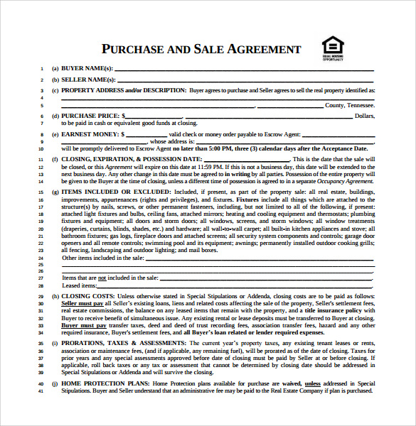 12+ Purchase and Sale Agreements – Samples, Examples & Format